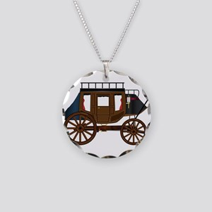 Western Stage Coach Necklace Circle Charm