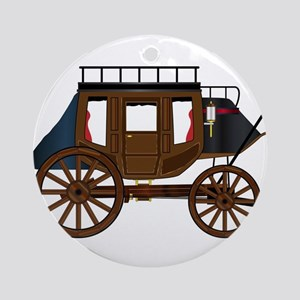 Western Stage Coach Round Ornament