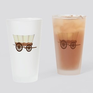 Covered Wagon Wheel Drinking Glass