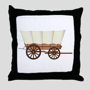 Covered Wagon Wheel Throw Pillow