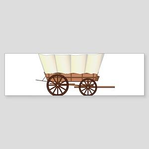 Covered Wagon Wheel Bumper Sticker