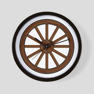Covered Wagon Wheel Wall Clock