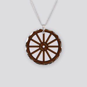 Covered Wagon Wheel Necklace Circle Charm