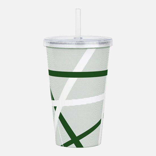 Green Criss Cross Half Acrylic Double-wall Tumbler