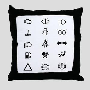 Vehicle Dash Warning Icons Throw Pillow