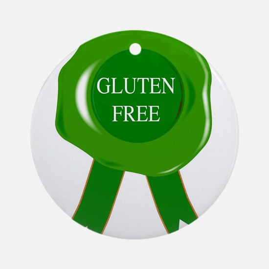 Green Gluten Free Seal Round Ornament