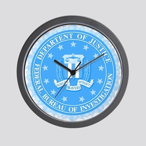 FBI Seal In Blue Wall Clock