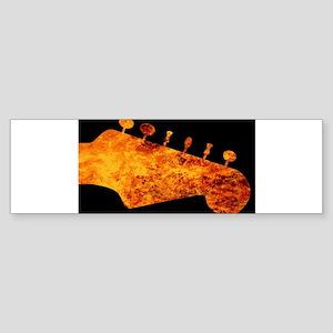 Flaming Guitar Headstock Bumper Sticker