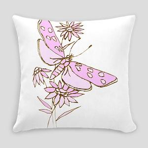 Summertime Pink Lemonade Dragonfly Everyday Pillow