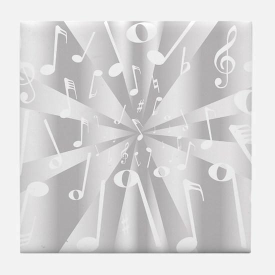 Silver Musical Notes Background Tile Coaster