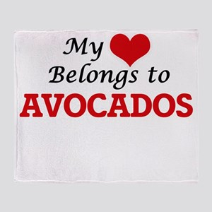 My Heart Belongs to Avocados Throw Blanket