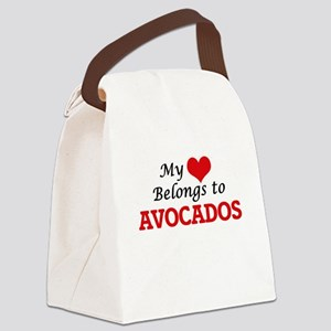 My Heart Belongs to Avocados Canvas Lunch Bag
