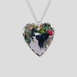 Papillon dog Necklace Heart Charm