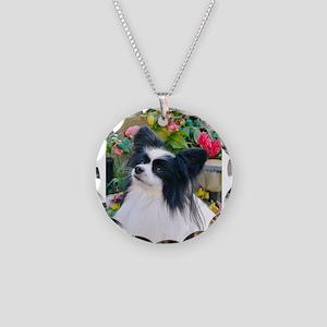 Papillon dog Necklace Circle Charm
