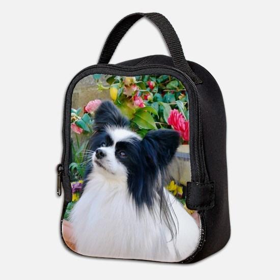 Papillon dog Neoprene Lunch Bag