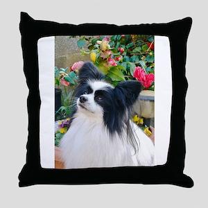 Papillon dog Throw Pillow