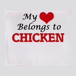 My Heart Belongs to Chicken Throw Blanket