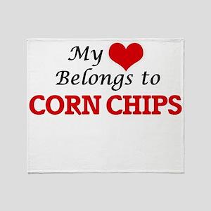 My Heart Belongs to Corn Chips Throw Blanket