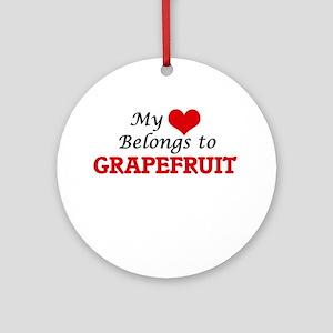 My Heart Belongs to Grapefruit Round Ornament
