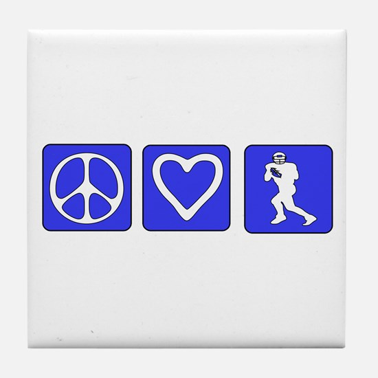 Peace Love Football Tile Coaster