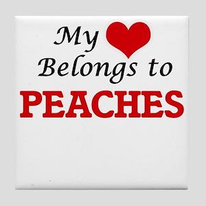 My Heart Belongs to Peaches Tile Coaster