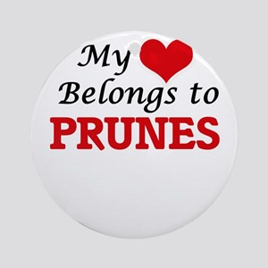 My Heart Belongs to Prunes Round Ornament