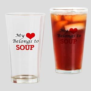 My Heart Belongs to Soup Drinking Glass