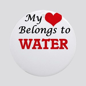 My Heart Belongs to Water Round Ornament