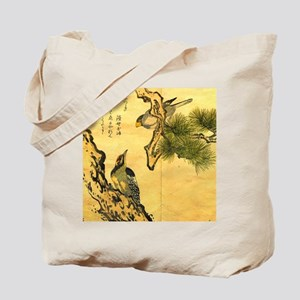 Woodpecker and Grossbeak by Utamaro Tote Bag