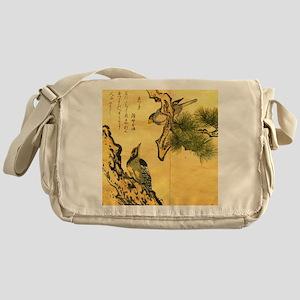 Woodpecker and Grossbeak by Utamaro Messenger Bag