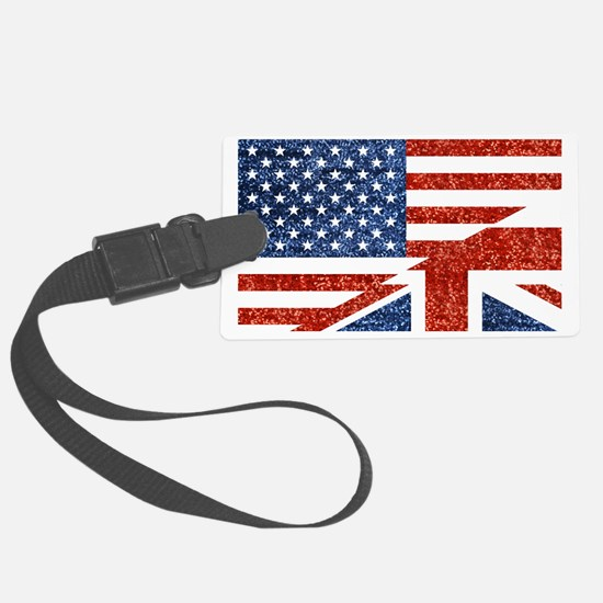 Unique British and american flag Luggage Tag