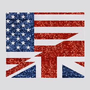 glitter usa uk Throw Blanket