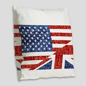 glitter usa uk Burlap Throw Pillow