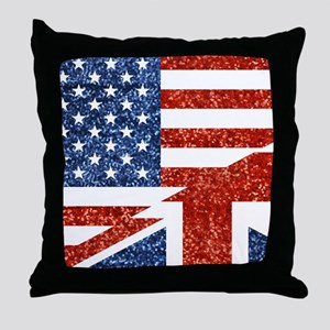 glitter usa uk Throw Pillow
