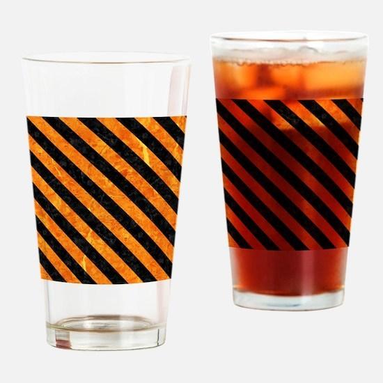 STRIPES3 BLACK MARBLE & ORANGE MARB Drinking Glass