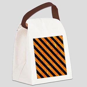 STRIPES3 BLACK MARBLE & ORANGE MA Canvas Lunch Bag