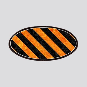 STRIPES3 BLACK MARBLE & ORANGE MARBLE (R) Patch