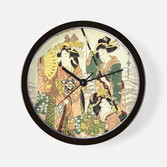 Princess and Maids Ukiyoe Wall Clock