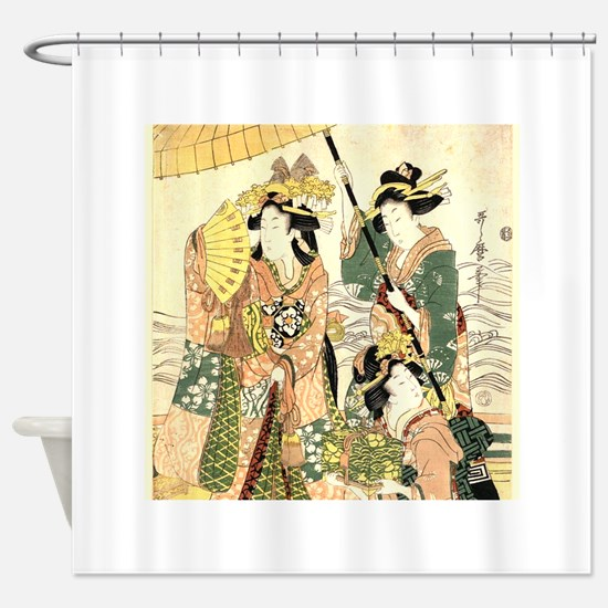 Princess and Maids Ukiyoe Shower Curtain