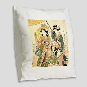 Princess and Maids Ukiyoe Burlap Throw Pillow