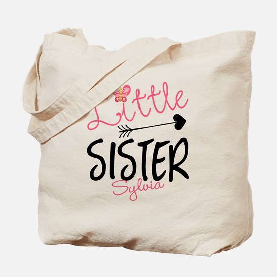 Little Sister Butterfly Personalized Tote Bag