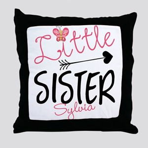 Little Sister Butterfly Personalized Throw Pillow