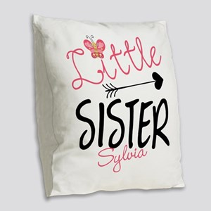 Little Sister Butterfly Personalized Burlap Throw