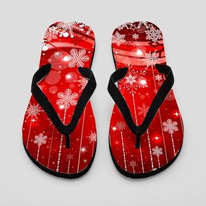 Decorative Christmas Ornamental Snowfla Flip Flops