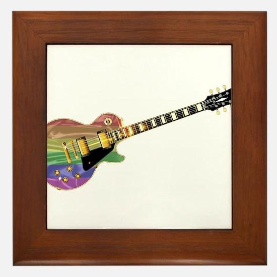 Gay Pride Guitar Framed Tile