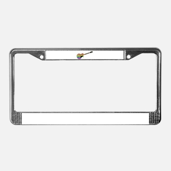 Gay Pride Guitar License Plate Frame