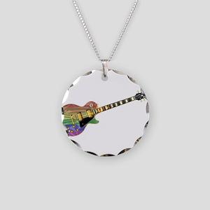 Gay Pride Guitar Necklace Circle Charm