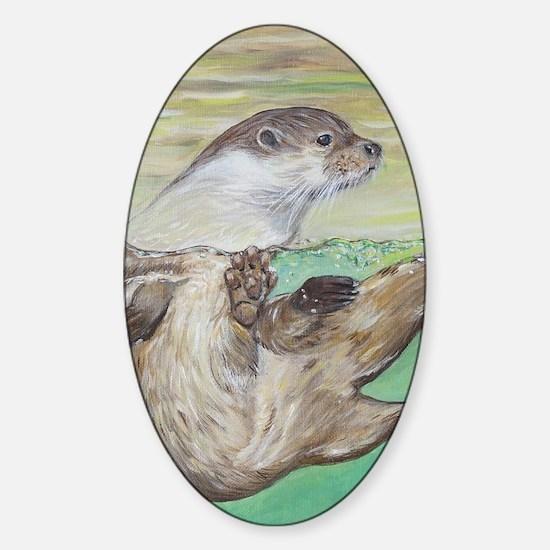 Unique River otter Sticker (Oval)