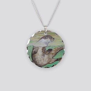 Playful River Otter Necklace Circle Charm