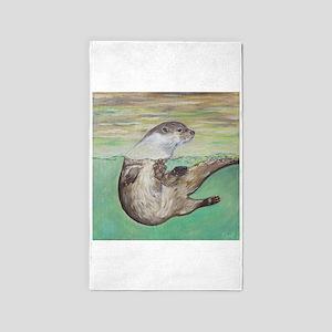 Playful River Otter Area Rug